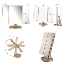 Vanity Mirror LED Lights Tri-Fold Tabletop Makeup Beauty Touch Screen Sw... - $44.06