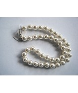 """White Faux Pearl Necklace 10MM With Silver Tone Fish Clasp 18"""" New With Tag - $19.75"""