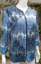 COLDWATER CREEK Zip Front Embroidered Printed Linen Blend Jacket Size 10 - $27.72