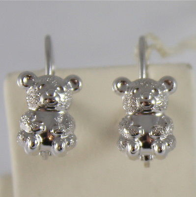 SOLID 18K WHITE GOLD EARRINGS, SATIN BEARS, BEAR OMEGA BACK MADE IN ITALY