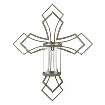 Contemporary Cross Candle Wall Sconce Pillar Candle Holder - $39.55