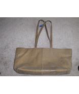 Frenchy Of California Satchel Tote Bag Shiny Tan Purse Handbag Shopper - $19.97