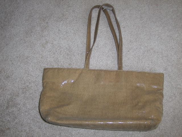 Frenchy Of California Satchel Tote Bag Shiny Tan Purse Handbag Shopper