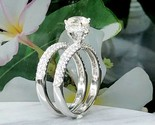 Solitaire Diamond Round 2 Ct Hidden Halo Bridal Engagement Rings 14k White Gold