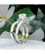 Solitaire Diamond Round 2 Ct Hidden Halo Bridal Engagement Rings 14k Whi... - $4,361.38