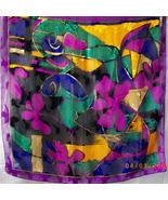 New square silk Sunkyung Sa scarf in purple, green, blue, gold and black - $10.00