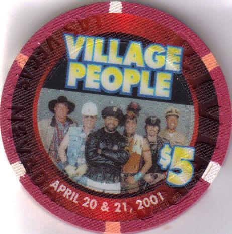 VILLAGE PEOPLE Apr 20-21 2001 $5 Ltd. 777 RIVIERA Hotel Casino Chip, vintage