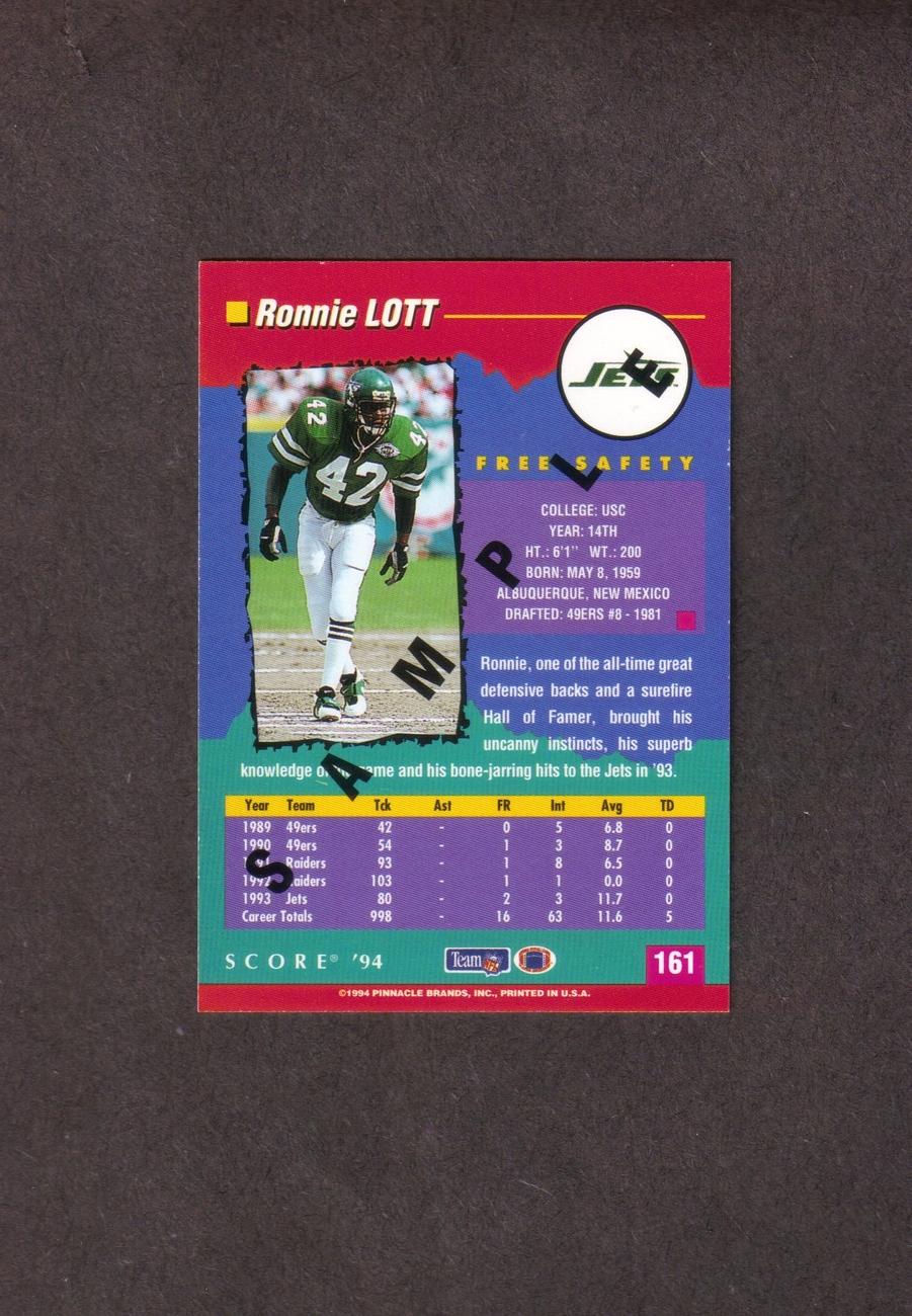 1994 Score Ronnie Lott Rare Promo Card Jets