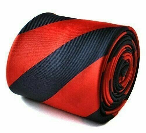 Frederick Thomas red and navy barber striped tie classic necktie for mens men