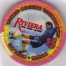 2010 World Soccer the RIVIERA Vegas $5 Casino Chip Uncirculated - $10.95