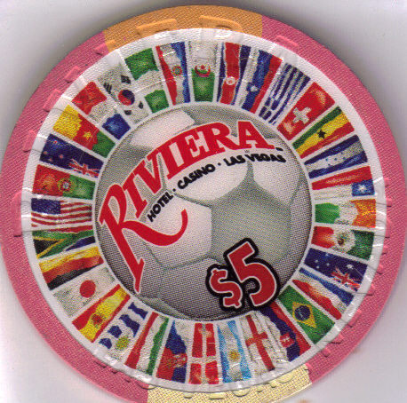 2010 World Soccer the RIVIERA Vegas $5 Casino Chip Uncirculated