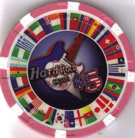 2010 World Soccer HARD ROCK Las Vegas $5 Casino Chip, New