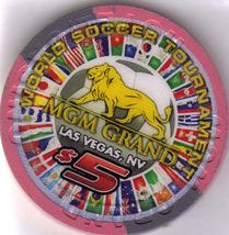 2010 World Soccer MGM Grand Las Vegas $5 Casino Chip, Uncirculated - $10.95