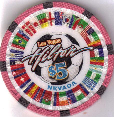 2010 World Soccer HILTON Las Vegas $5 Casino Chip, New