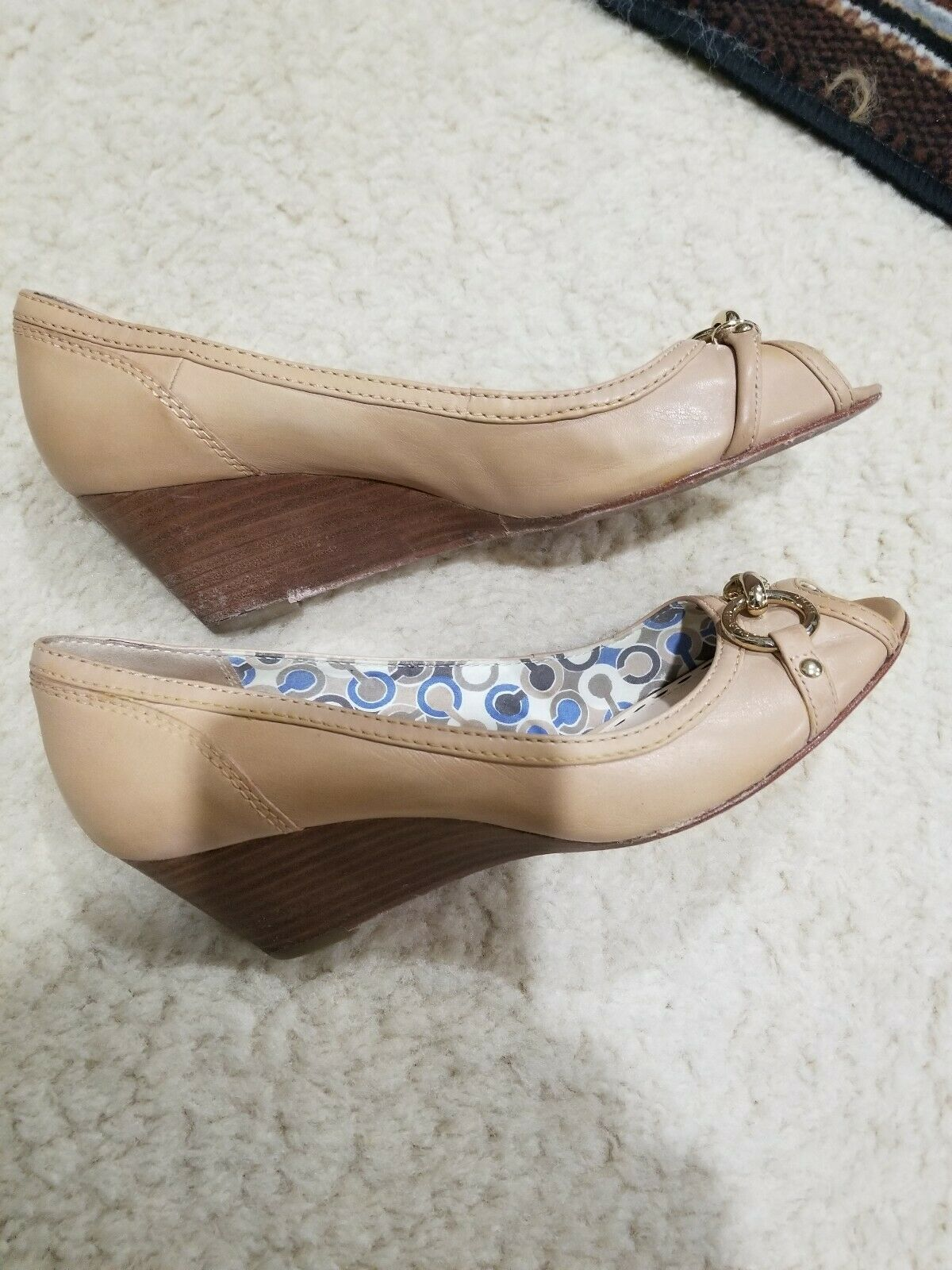1b5459e46a COACH Stella Leather Open Toe Wedge Shoes Heels Pump Women's SZ ...