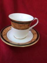 Noritake Cabot Bone China Vintage Brown Gold Cup Saucer Set, birthday Gift - €15,82 EUR
