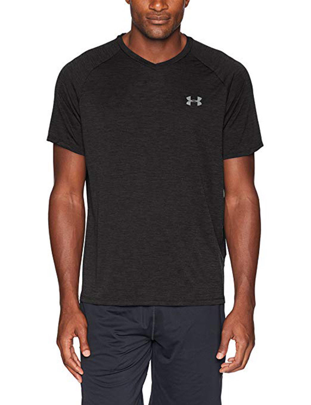 Under Armour Men's Tech V-Neck, Black/Graphite, Large