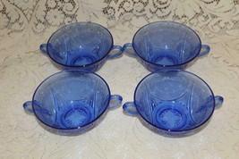 Hazel Atlas Depression Glass COBALT ROYAL LACE 4 Soup Creams C  1934 - $54.00