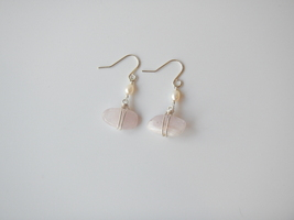 Kunzite Dangle Earrings, Lavender Kunzite, White Rice Pearls, Natural Ge... - $18.00