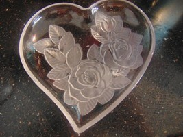 2 Lead Crystal Heart Shaped Dishes W/Roses Candy Jelly Vanity Keys - $23.40
