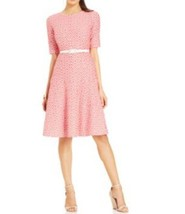 Anne Klein Dress Sz 10 Zinnia Camellia Red White Belted A-Line Career Cocktail - $61.64