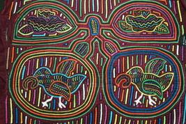 Kuna Indian Abstract Mola Hand stitched Applique Art Parrots Coconut Pal... - $56.99
