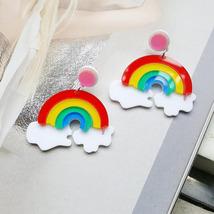 Handmade Rainbow Colorful Statement Earrings Drop Acrylic Korean Kawaii ... - $3.29