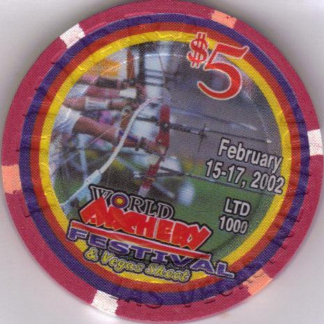 2002 World Archery Festival $5 Ltd 1000 Riviera Hotel Casino Chip