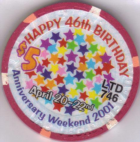 2001 46th Birthday Anniversary Riviera Hotel $5 Ltd 746 Edition Casino Chip