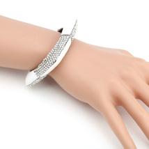 UE- Silver Tone & White Designer Bangle Bracelet With Swarovski Style Crystals - $39.99