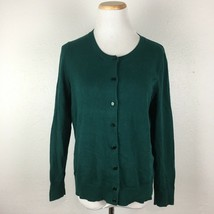 Talbots Petites Women's Dark Green Pima Cotton Cardigan Sweater Size Large - $19.79