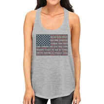50 States Us Flag Womens Grey Tanks Funny 4th Of July Outfit Idea - $14.99