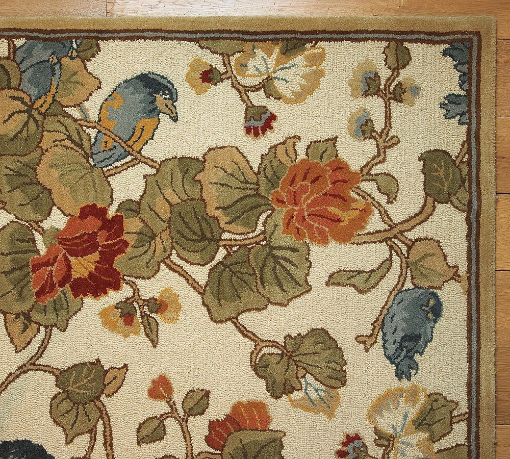 New Pottery Barn Handmade Persian Bird Floral Rug 8x10