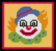 Latch Hook Rug Pattern Chart: JENs CLOWN pillow top -EMAIL2u - $5.50