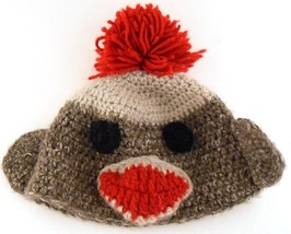 Sock Monkey Beanie Cap Hat Hand Crafted Crocheted Pom Pom Adult Sized  - $9.49