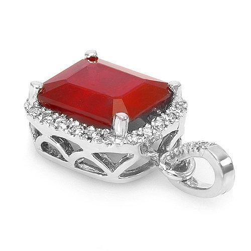 6.7 ct natural ruby & diamond pendant in 14k gold