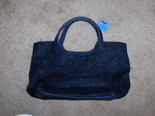 Blue Jean Satchel Sparkle Shimmer Purse Handbag