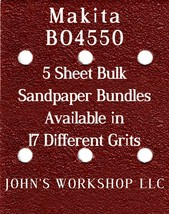 Makita BO4550 - 1/4 Sheet - 17 Grits - No-Slip - 5 Sandpaper Bulk Bundles - $7.14