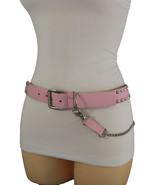 Women Pink Fabric Punk Rock Fashion Belt Silver Metal Side Chains Studs S M L XL - $9.79