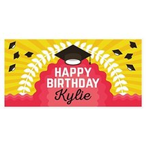 College Hats Personalized Birthday Banner Party Backdrop Decoration - €19,09 EUR