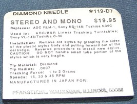 TURNTABLE NEEDLE STYLUS for Kenwood N65 MGA MODELS LT55 LT76 119-D7 image 2