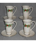 Set (4) Triomphe HOLLY & BERRY PATTERN Irish Coffee Cups w/Saucers - $29.69