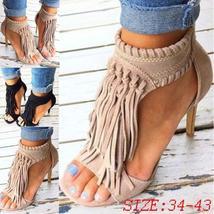 Summer New Fashion Women Sexy Tassel Retro Sandals Stiletto High Heels Casual Pa
