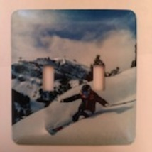 Skiing Light Switch Plate Outdoors  Double Toggle - $10.50