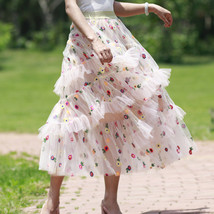 Champagne Tiered Tulle Skirt Outfit Floral Layered Tulle Skirt Princess Skirt image 4