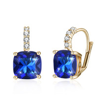 SWAROVSKI ® ELEMENTS-12MM -DENIUM BLUE- SILVER PLATED LEVERBACK EARRINGS - $9.79
