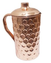 Hammered Copper Pitcher for Ayurveda Health Benefit Big Hammered 50 Ounce - $28.50