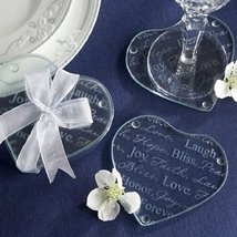 """150 """"Good Wishes"""" Heart Glass Coasters - $240.05"""