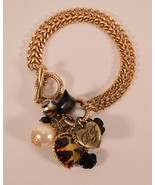 Betsey Johnson Black Roso Flowers Hearts and Faux Pearl Gold Tone Charm ... - $31.68