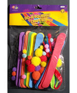 KIDS CRAFT KIT 65pc Do It Yourself Pompoms Foam Pipecleaners Feathers Ey... - $4.99